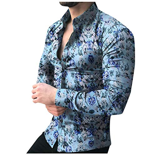 Shirt for Men, F_Gotal Men's T-Shirts Fashion Summer Printed Floral Long Sleeve Slim Fit Sport Tees Blouse Tops Blue