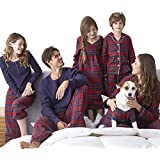 SESY Family Pajamas Set Classical Plaid Blouse Button Front Sleepwear,Girl's,Medium