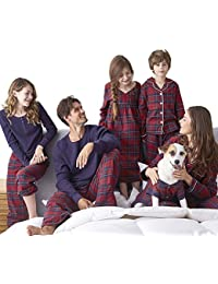 Family Pajamas Sets Matching Classical Red Plaid Loungewear Button Front Blouse & Trousers Holiday Suits