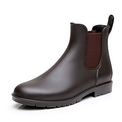 new arrival 91560 2f084 Stivali Gomma Donna Ragazza Chelsea Pioggia Bassi Lavoro Giardino  Stivaletti Antiscivolo Wellington Ankle Boots Nero Marrone 34-43