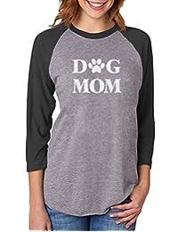 Tstars Dog Mom for Dog Lover 3/4 Women Sleeve Baseball Jersey Shirt