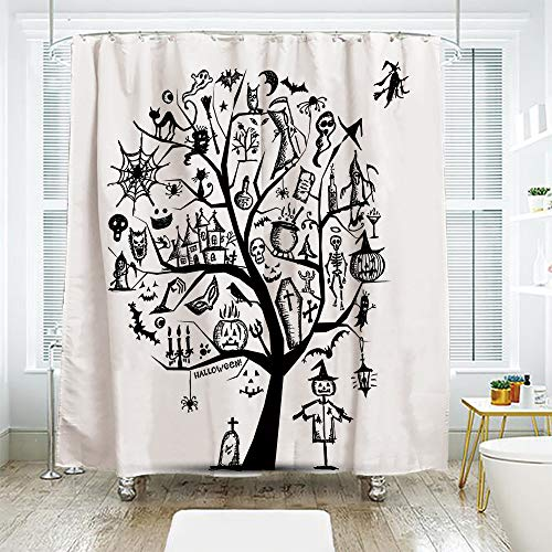 scocici DIY Bathroom Curtain Personality Privacy Convenience,Halloween Decorations,Sketchy Spooky Tree with Spooky Decor Objects and Wicked Witch Broom,Black White,70.8