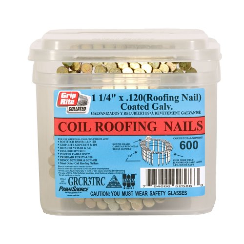 Grip Rite 1 1/4 Inch 15? Electro GALVANIZED Coil Roofing Nails, Smooth  Shank, 600 Nails Per Tub   Collated Roofing Nails   Amazon.com