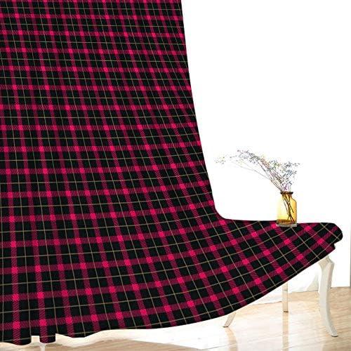 PJCNEW Gardinen Wohnzimmer, Vorhang Blickdicht, 3D Drucken Rotes Schachbrettmustergardinen Für Wohnzimmer Schlafzimmer H166Xw183Cm 66X72In