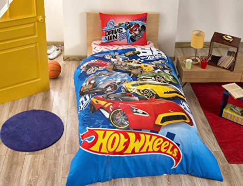 Kids Cars Bedding Duvet Cover Set New Licensed 100% Cotton / Cars Hot Wheels Twin Size Duvet Cover Set / Hot Wheels Bedding Set 3 (Hot Wheels Comforter)