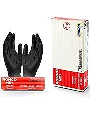 MEDIUM Black Nitrile Gloves, 2 MIL, RONCO Premium Quality Disposable Gloves by D&L Protection, Powder Free, Non-Sterile, Textured Gloves (100 Gloves, BLACK, MEDIUM)