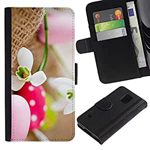 LASTONE PHONE CASE / Lujo Billetera de Cuero Caso del tirón Titular de la tarjeta Flip Carcasa Funda para Samsung Galaxy S5 V SM-G900 / Egg Snow Flower Spring Nature