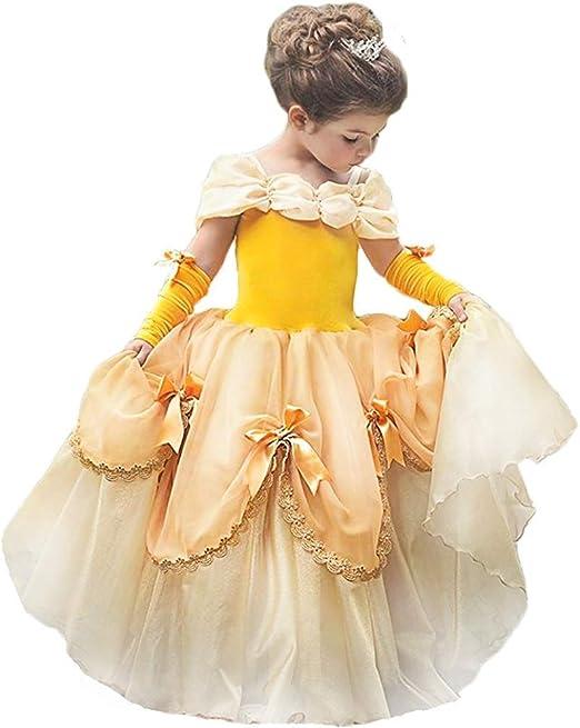 OBEEII Niñas Carnaval Traje de Princesa Bella Disfraz Belleza ...
