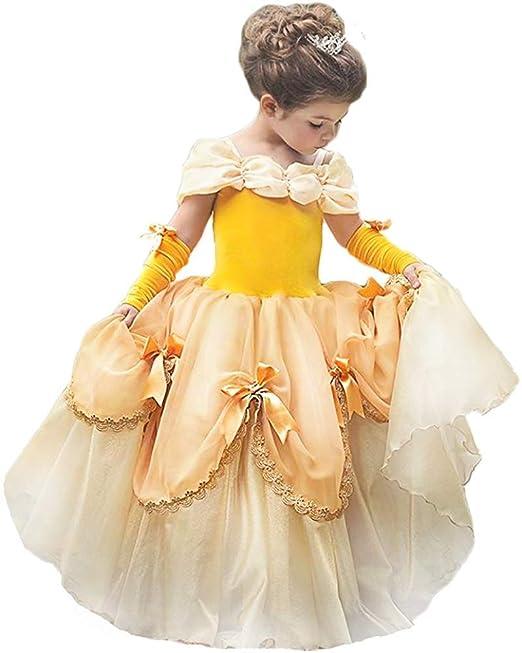 OBEEII Niñas Carnaval Traje de Princesa Bella Disfraz Belleza Cuentos Infantiles para Halloween Navidad Fiesta Ceremonia Aniversario Cosplay Costume