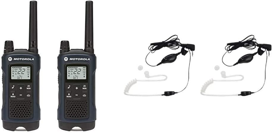 Motorola Solutions Talkabout T460 Rechargeable Two-Way Radio Pair (Dark Blue) Bundle with Motorola 1518 Surveillance Headset with PTT Mic, Black, White