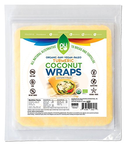 "NUCO Certified ORGANIC Paleo Gluten Free Vegan ""Turmeric"" Coconut Wraps, 5 Count (One Pack of Five Wraps)"