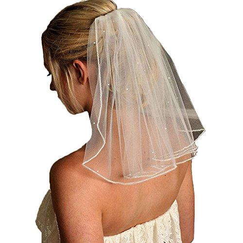 DYS Women's Short Wedding Veils with Comb Lace Appliques Beads Bridal Veil(More) ()