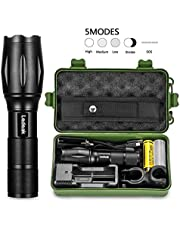 Ledeak T6 Upgrade L2 LED Flashlight, CREE 1200 Lumens Torch, 5 Modes Tactical Zoomable Waterproof Flashlight with USB Charger, 18650 Rechargeable Battery, Cycling Handlebar Mount, Flashlight Holster
