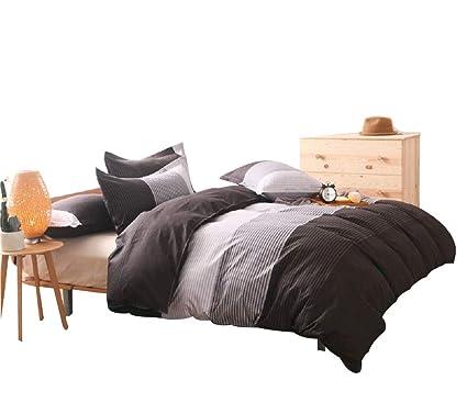 Yousa 3 Piece Striped Bedding Set Fashion Men S Boys Bedding Gray Queen