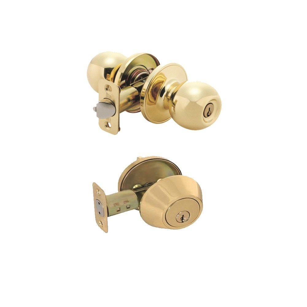 Grip Tight Tools Combo Entry Door Knob and Single Cylinder Deadbolt Lock Combo Set, Keyed Alike, SC1 Keyway (Polished Brass)