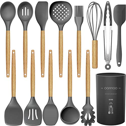 14 Pcs Silicone Cooking Utensils Kitchen Utensil Set – 446°F Heat Resistant,Turner Tongs,Spatula,Spoon,Brush,Whisk…