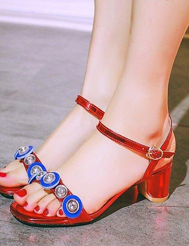 ShangYi Womens Shoes Chunky Heel Peep Toe / Slingback / DOrsay & Two-Piece / Open Toe Sandals Office & Career / Dress / Blue
