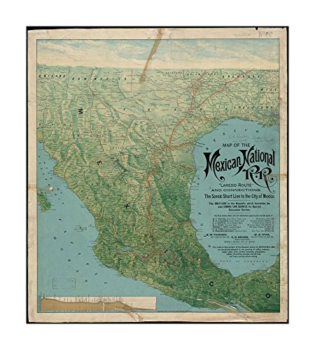 1897 Map Mexico of Mexican National R.R