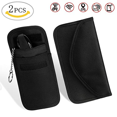 Car Key Signal Blocker Case with Cell Phone Radiation Protector Bag, MMTX 2 pcs Bag for RFID/WiFi/GSM/LTE/NFC Antitheft Car Keys Guard Credit Card EMF Protection Driver License