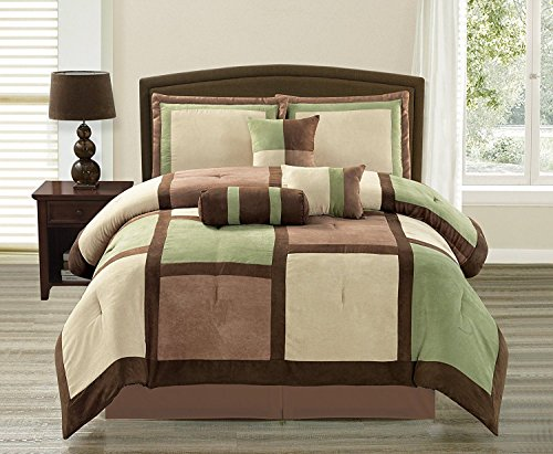 Empire Furniture USA Anissa Collection Luxurious 11-Piece Micro Suede Soft Comforter Set & Bed Sheets Limited-Time Sale!! (Green & Brown Patchwork, Queen) ()