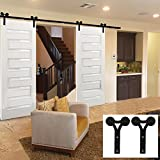 WINSOON 12FT Vintage Double Sliding Barn Wood Door Hardware Track...