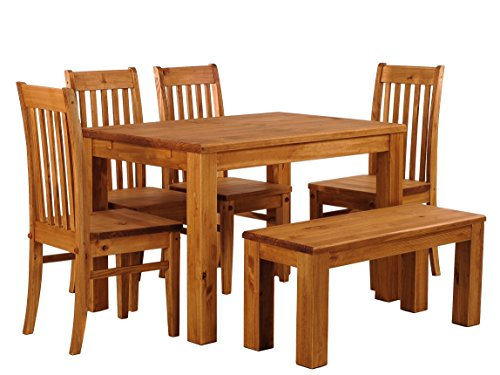 - B.R.A.S.I.L.-Möbel Brazilfurniture Dining Table Set for Six, Rio Pine with Bench and 4X Chair, Honey Solid Wood, Extensions Optional Extendable