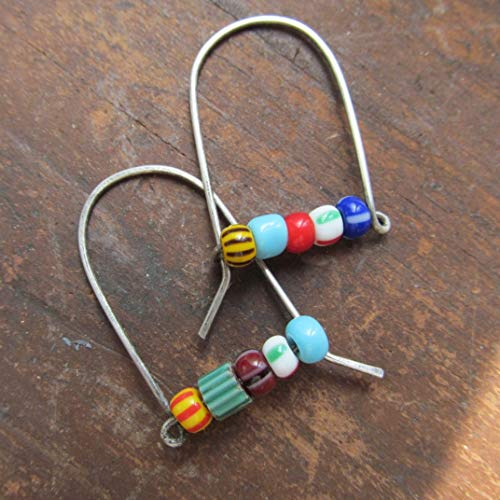 Multicolor African Trade Bead Dangling Earrings in Silver- Diana Anton Jewelry Design