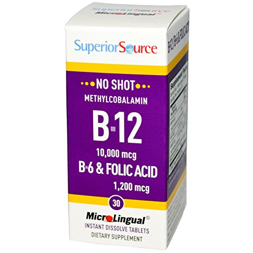 Superior Source, B-12 10,000 mcg / B-6 & Folic Acid 1,200 mcg, 30 MicroLingual Instant Dissolve Tablets - 3PC by Superior Source