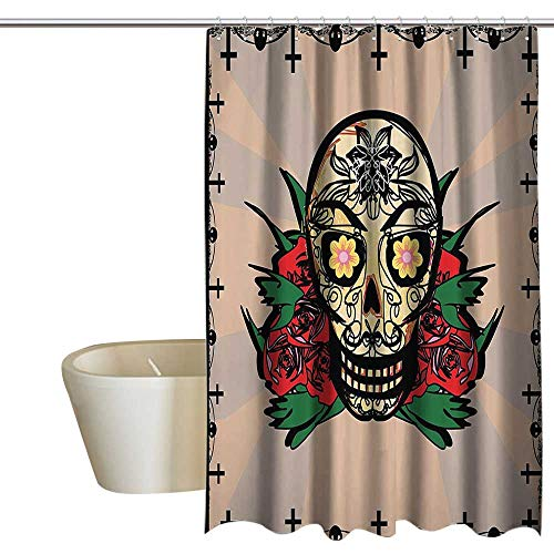 EwaskyOnline Mexican Decorations Hotel Style Shower Curtain Sugar Skull with Red Rose and Cross Spooky Halloween Horror Mystic Art Theme Shower Curtain Rustic W72 x L96 -