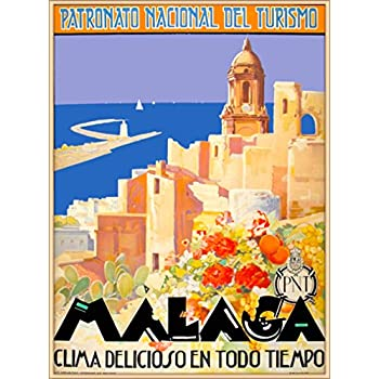 A SLICE IN TIME Malaga Spain Coast of the Sun Seashore Spanish Riviera Vintage Travel Advertisement Art Wall Decor Poster Print. 10 x 13.5 inches
