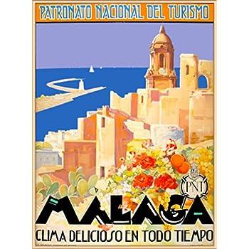 A SLICE IN TIME Malaga Spain Coast of the Sun Seashore Spanish Riviera Vintage Travel Advertisement Art Wall Decor Poster Print. 10 x 13.5 inches