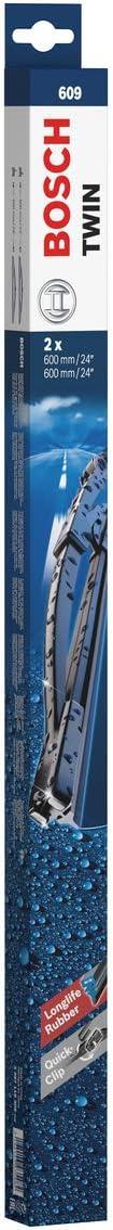Scheibenwischer BOSCH 3 397 118 309 Twin 609 600+600mm Waschwasserdüse 2 Stück