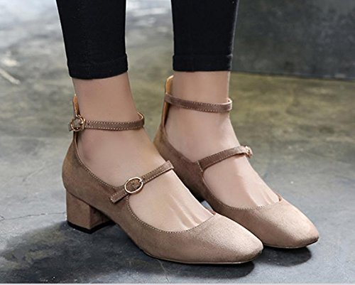 Retro new shoes buckle square head shallow mouth single shoes female rough with Beige adLV6d