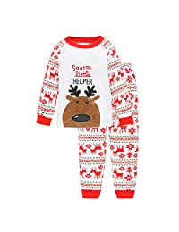 Bling Stars Boys Girls Flying Reindeer Christmas Pjs Long Sleeve Pajamas Sets