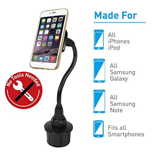 Macally Universal Magnetic Car Cup Holder Mount for iPhone X 8 8 Plus 7 7 Plus 6s 6 6 Plus, Samsung Galaxy S9 S9 Plus S8 S7 Note, Most Cell Phones with Extra Long Neck & 4 Metal Sheets (MCUPMAG)