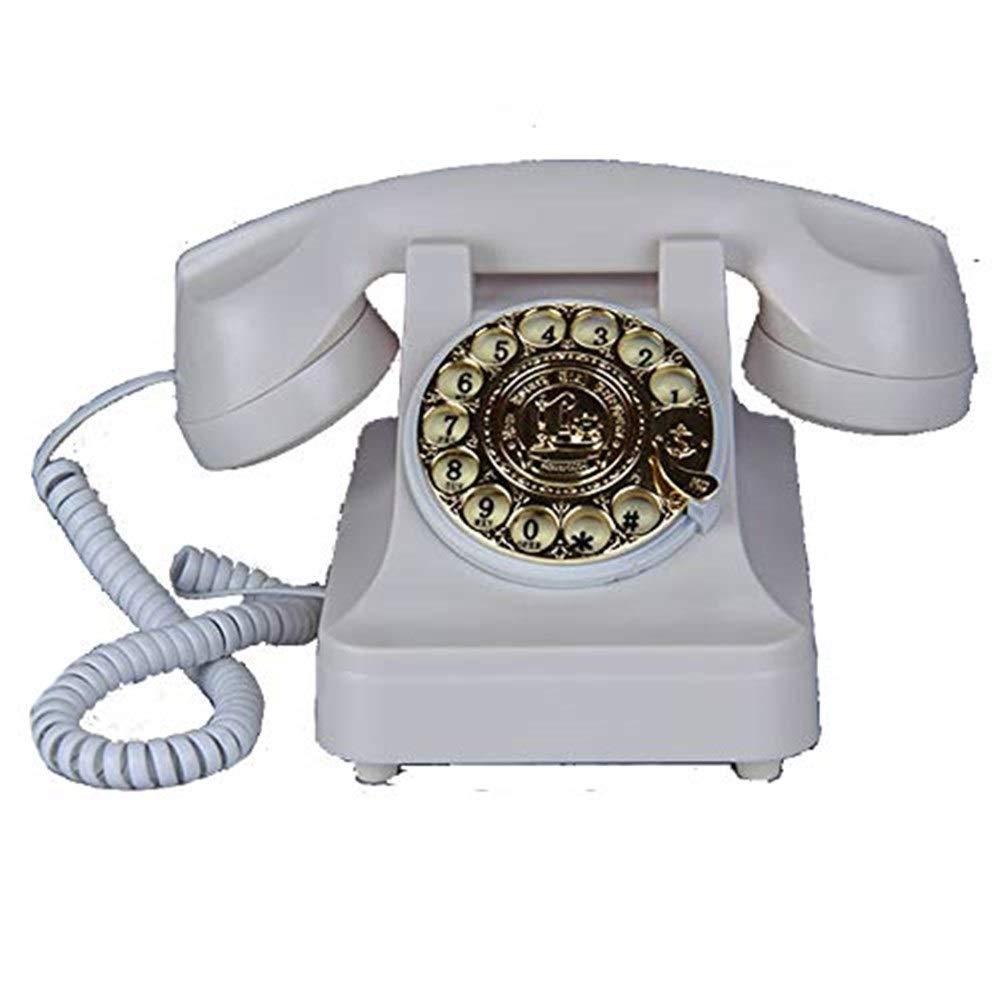 固定電話 有線電話固定電話レトロ電話アンティーク電話ゲストルーム自宅電話 固定電話 (色 : ブラック) B07QLL5D6M 白