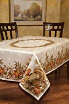 Benson Mills Turkey Festivities Engineered Border Tablecloth, 60 by 120-Inch