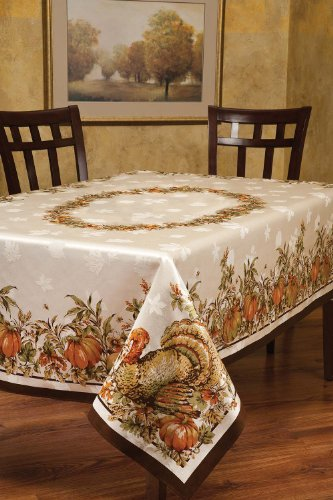 Harvest Tablecloth - Benson Mills Turkey Festivities Engineered Border Tablecloth, 60 by 120-Inch