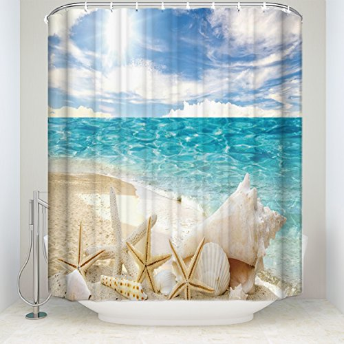 LALADecor Seaside Shower Curtain Sunny Day Starfish Shells On Beach