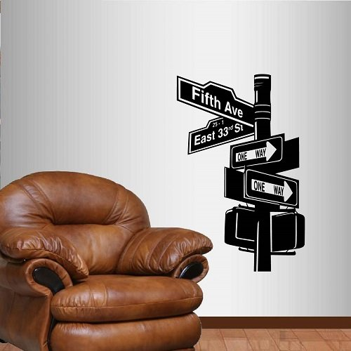 Wall Vinyl Decal Home Decor Art Sticker Road Sign New York Broadway Room Removable Stylish Mural Unique ()