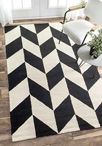 nuLOOM MTHM03A Hand Tufted Katte Wool Rug, 5' x 8', Black and White