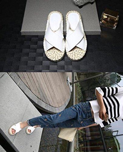 PBXP Geflochtene rutschfeste Outsoles Pantoffeln flache atmungsaktive elegante Freizeitschuhe EU Größe 33-43 , white white leather , 34