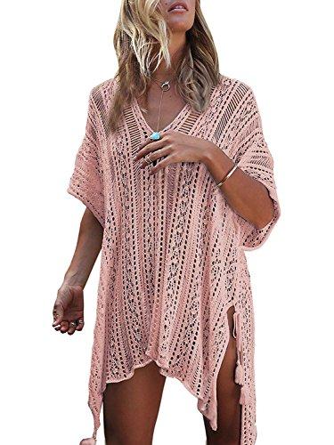 Copri Cover Kaftan Blouse Spiaggia Copricostume Estate Mare Bikini Up Maglia Costumi Tunica Scollo Top Da Tkiames Kimono In Pizzo Pink A Boho Bagno Beach Donna V Camicetta Parei Abito qzI1wFa