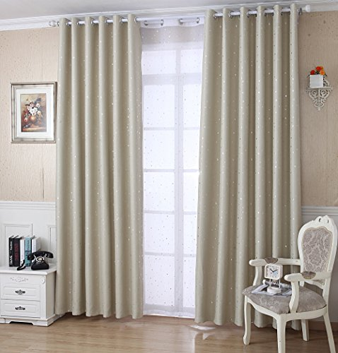 WPKIRA Window Treatment Kids Room Blackout Curtains Room Darkening Thermal Insulated Blackout Grommet Top Printing Cute Little Star Drapes Panel for Girls Bedroom , 1 Panel Beige W40 x L84 inch