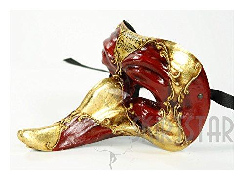 Italian Made Venetian Commedia Dell'arte Zanni Mask (Red/Gold) Commedia Dellarte Mask