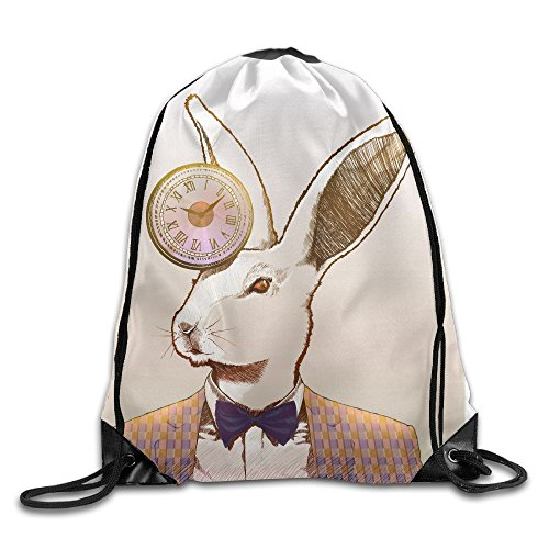 Yishuo Clock Rabbit Drawstring Pack Beam Mouth Gym Sack Shoulder Bags For Men & -