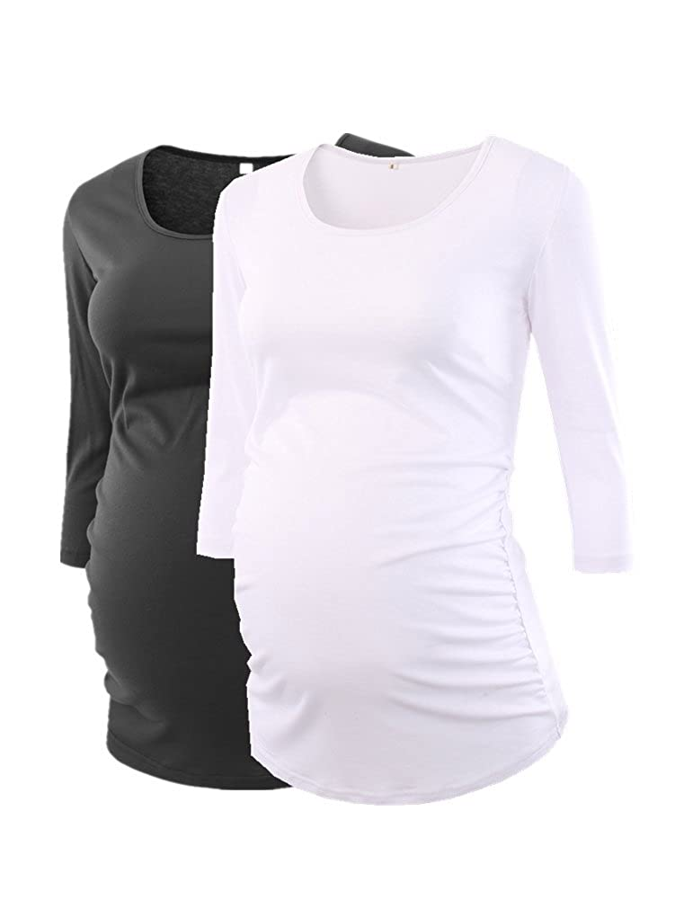 Black White BBHoping Women's Side Ruched 3 4 Sleeve Maternity Scoopneck T Shirt Top Pregnancy Clothes