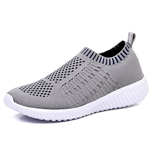 TIOSEBON Women's Athletic Walking Shoes Casual Mesh-Comfortable Work Sneakers 8.5 US Gray