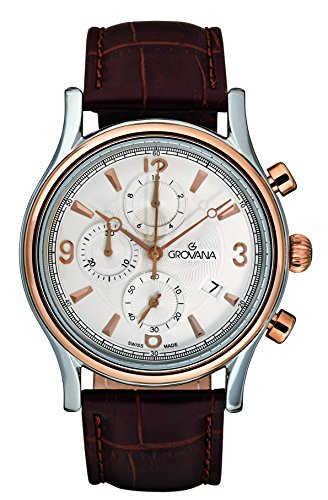 Grovana Men's 'Traditional' Swiss Quartz Stainless Steel and Leather Casual Watch, Color:Brown (Model: 1728-9552)