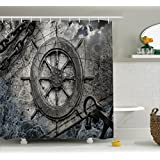 Ambesonne Ships Wheel Decor Collection, Vintage Navigation Equipment Illustration with Steering Wheel Charts Anchor Chains, Polyester Fabric Bathroom Shower Curtain Set, 75 Inches Long, Charcoal